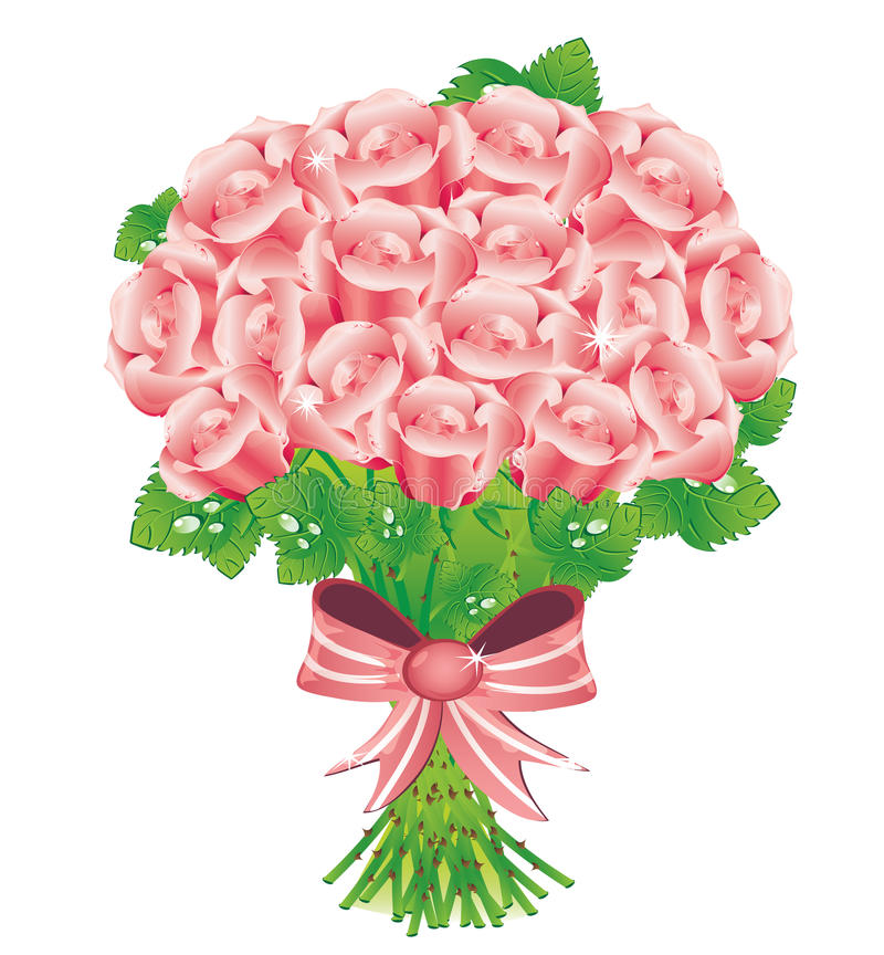 Download Bouquet of pink roses stock vector. Image of card, drop - 17663534