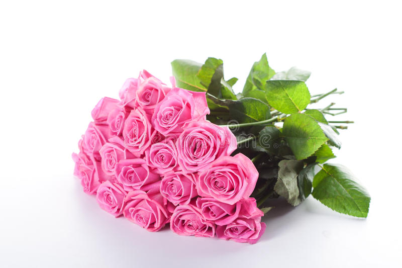 Bouquet of pink roses. On white background stock photo