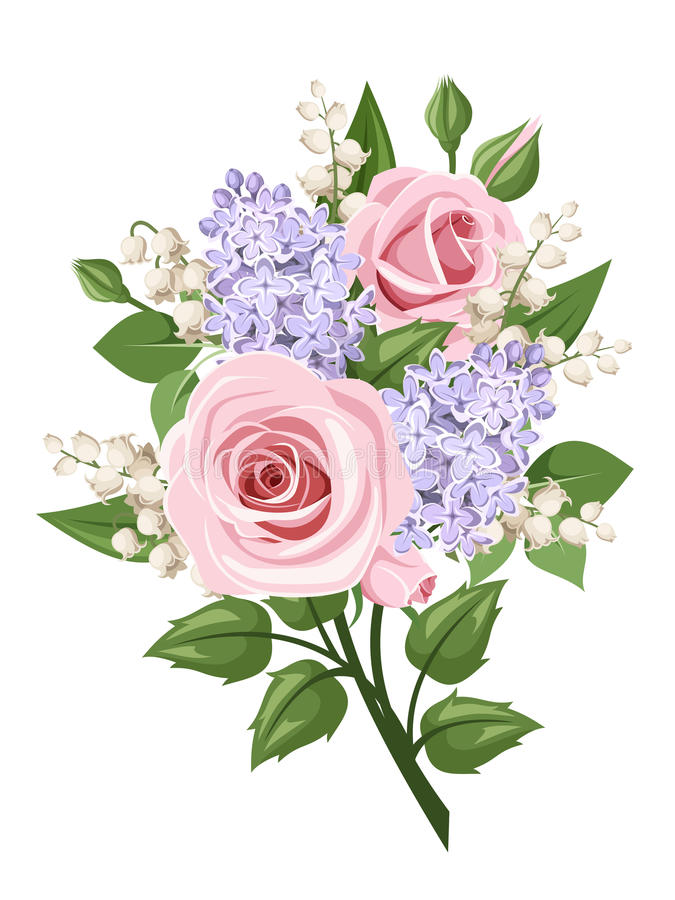 Bouquet with pink roses, lily of the valley and lilac flowers. Vector illustration. Vector bouquet with pink roses, lily of the valley and lilac flowers vector illustration