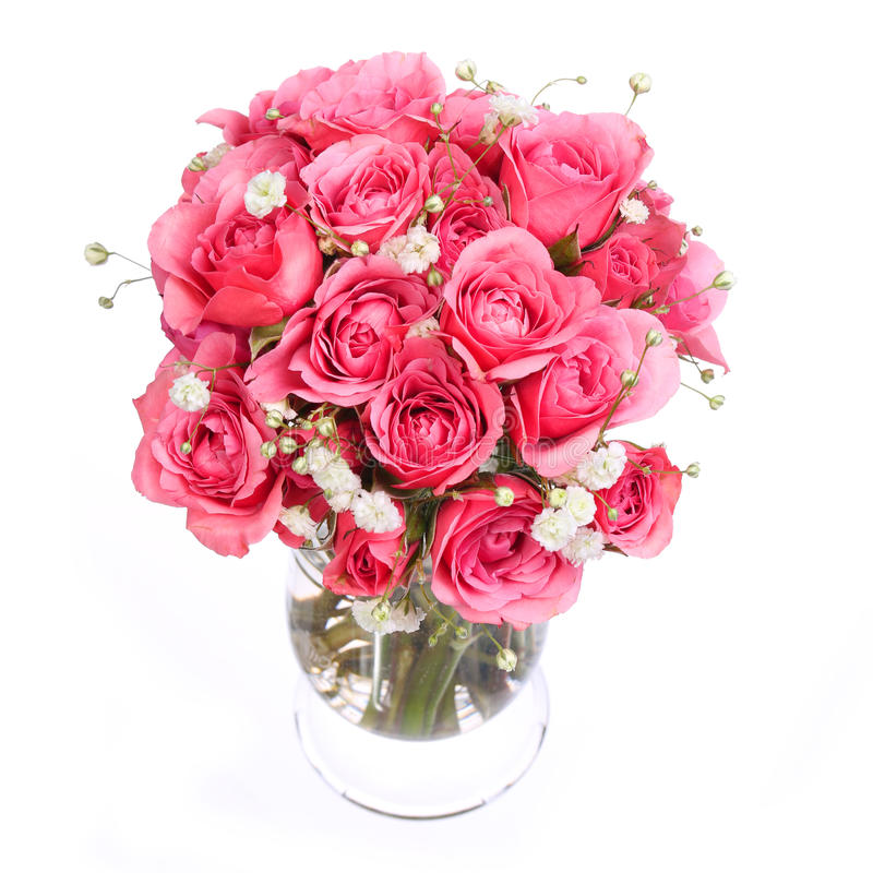 Download Bouquet Of Pink Roses In Vase Isolated On White Background Stock Image - Image: 36213781