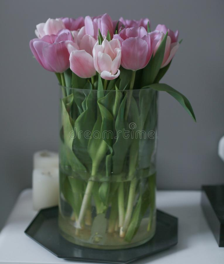Bouquet of pink tulips in a vase, close up stock photo