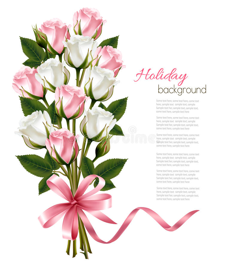Bouquet of pink and white roses and pink ribbon. royalty free stock photos