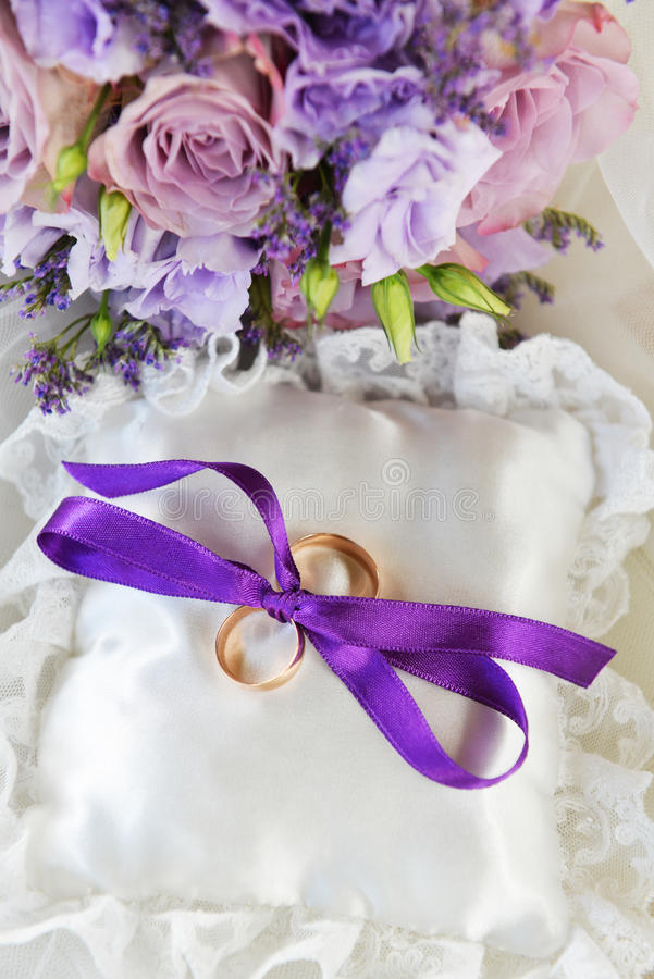 Bouquet of purple flowers stock photos
