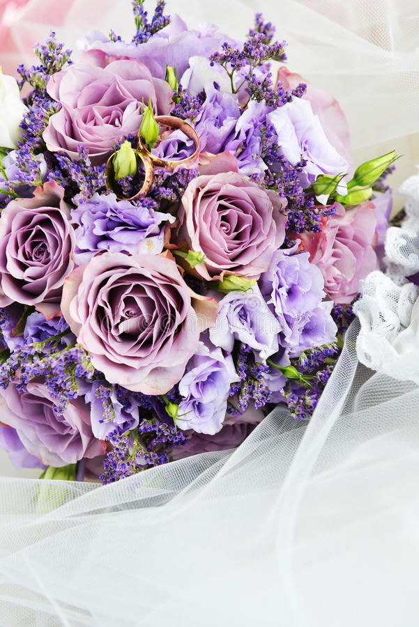 Bouquet of purple flowers royalty free stock photography