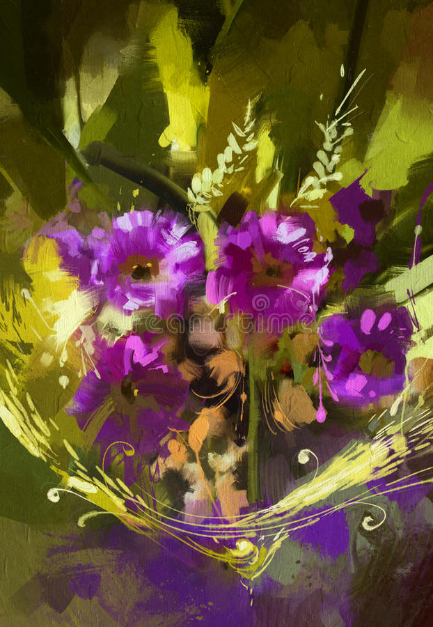 Bouquet of purple flowers. Digital painting showing bouquet of purple flowers stock illustration