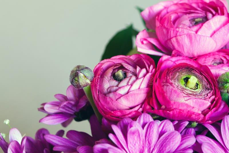 Bouquet of purple flowers. Postcard romantic background. Macro royalty free stock image