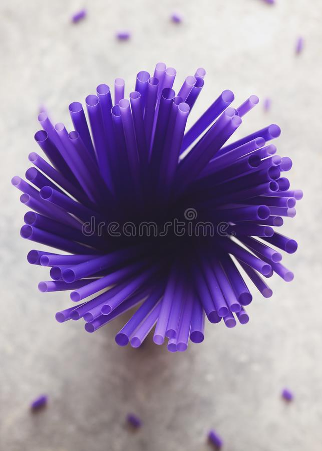 A Bouquet of Purple Straw. Directly Above Shot Of Purple Drinking Straws stock photography