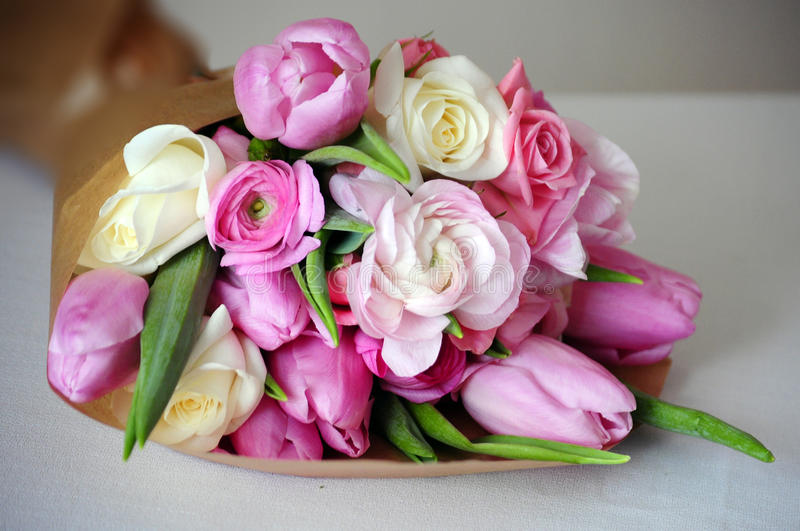 Bouquet of Ranunculus, tulip, roses royalty free stock photography