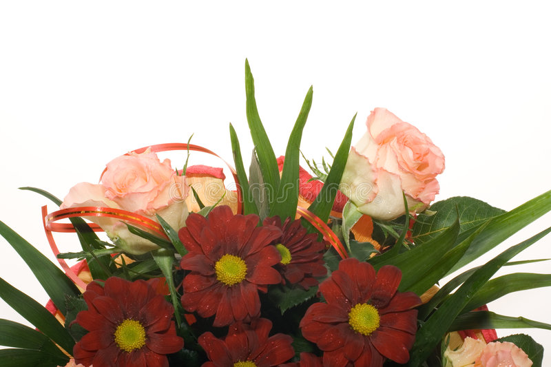Download Bouquet Of Red Flowers And Pink Roses Stock Photo - Image: 8229932