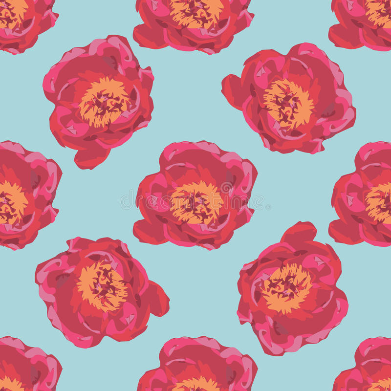 Bouquet of Red Peony flowers. Seamless summer floral pattern royalty free illustration