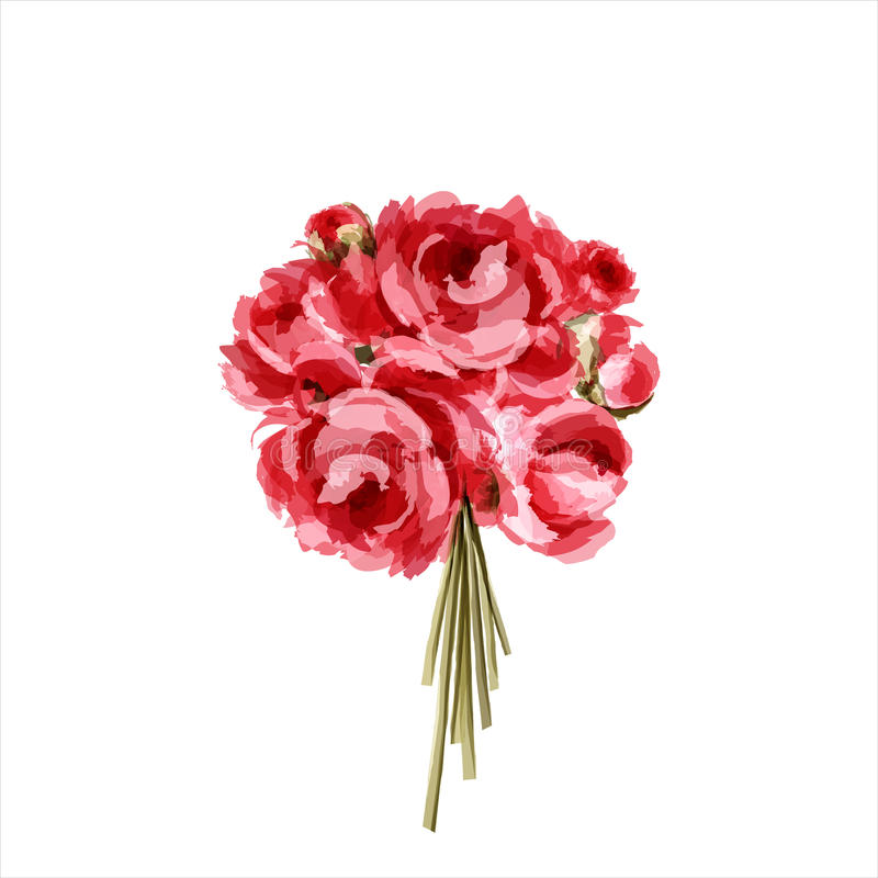 Download Bouquet Of Red And Pink Peonies Stock Vector - Image: 23652178