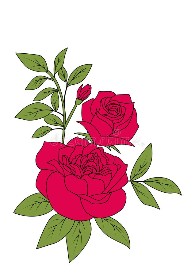 bouquet of red rose vintage flower style vector illustration stock rh dreamstime com vintage flower vector frame vintage flower vector png
