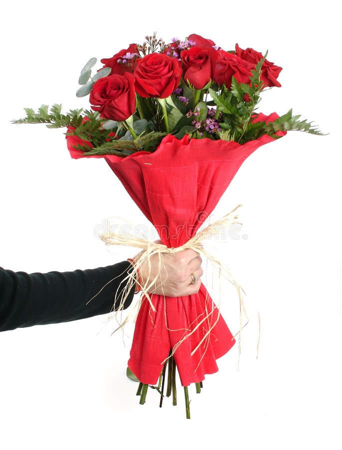 Bouquet of red roses. On a white background stock image