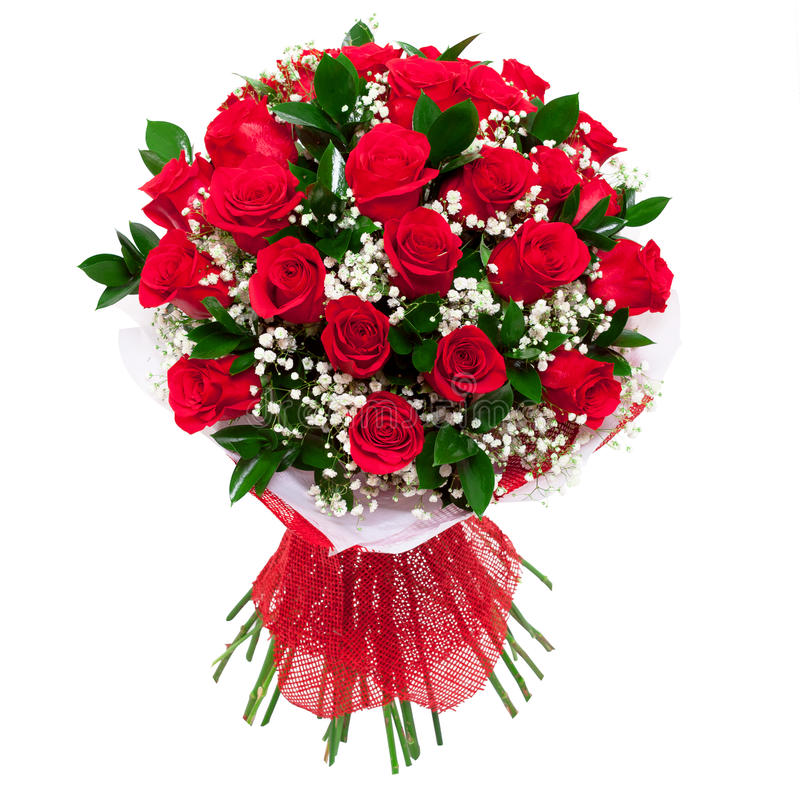 Bouquet of red roses isolated stock image image of bunch for Bouquet de fleurs 70 ans