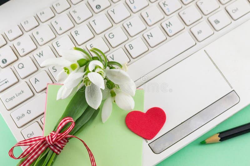 Bouquet romantique de perce-neige et un ordinateur portable images libres de droits