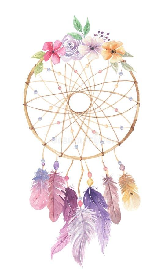 Bouquet rose de feuilles de baies de plumes de fleurs de bohémien d'aquarelle de Dreamcatcher illustration libre de droits