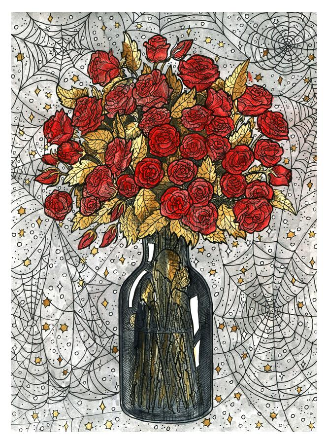 Bouquet of rose flowers in vase and spider web royalty free illustration