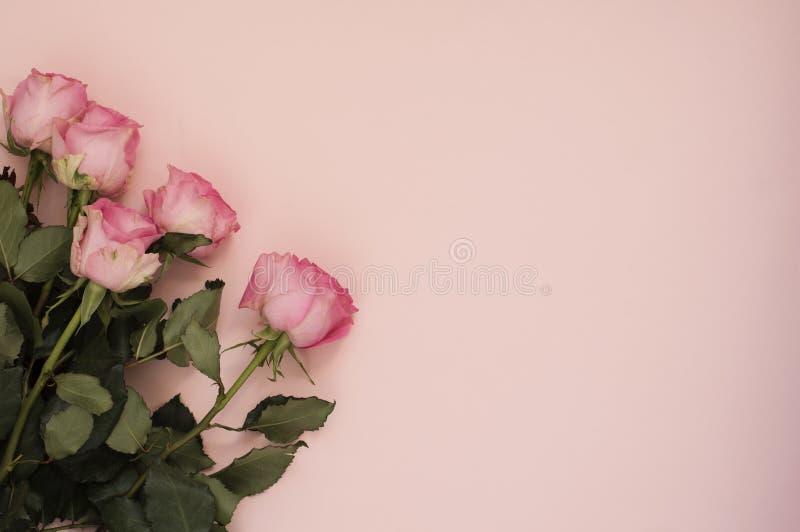 Bouquet rose renversant des roses sur le fond rose ivre Copiez l'espace, cadre floral Mariage, carte cadeaux, jour du ` s de vale photographie stock libre de droits
