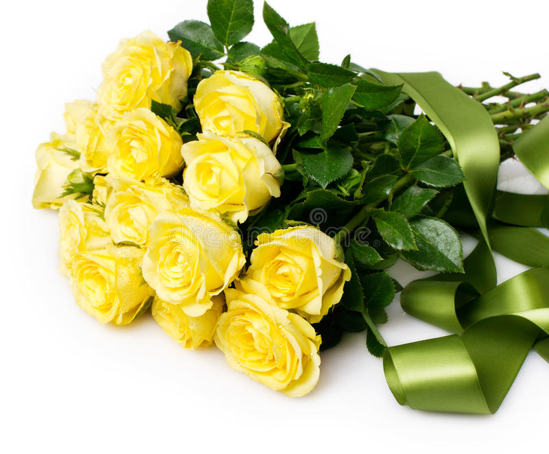 Bouquet of roses. Beautiful bouquet of yellow roses royalty free stock photos