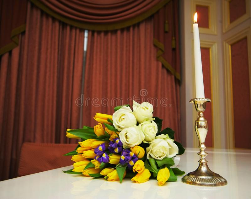 Download Bouquet with roses stock photo. Image of leaf, rose, curtains - 2946708