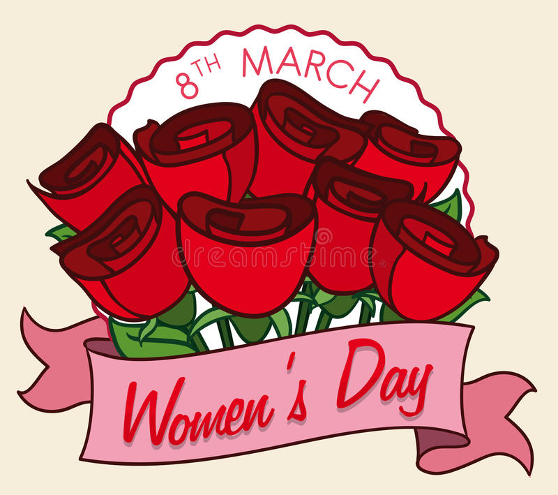 Bouquet of Roses for all the Ladies in Women's Day, Vector Illustration royalty free stock photography
