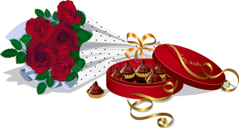 Bouquet of roses and chocolates royalty free illustration