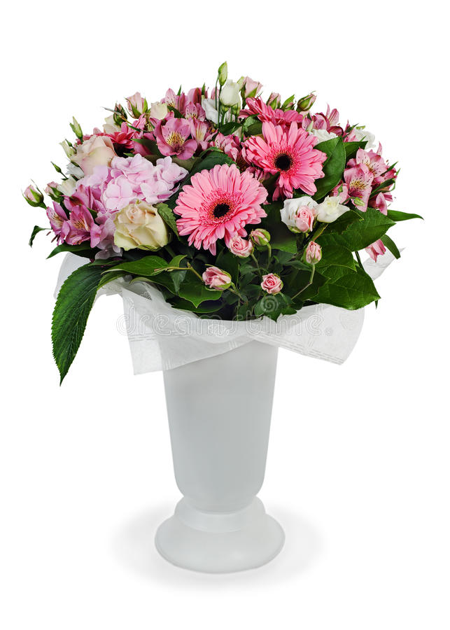 Bouquet Of Roses, Lilies And Orchids Stock Photos