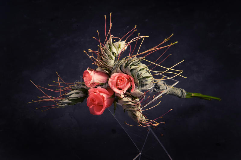 Download Bouquet Of Roses And Maple Leaves Stock Image - Image: 12136953