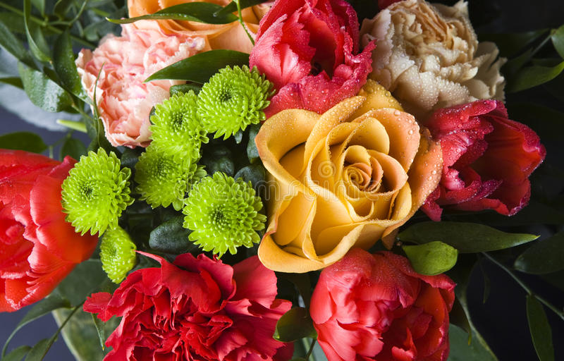Bouquet. Of roses, tulips and chrysanthemums stock photography