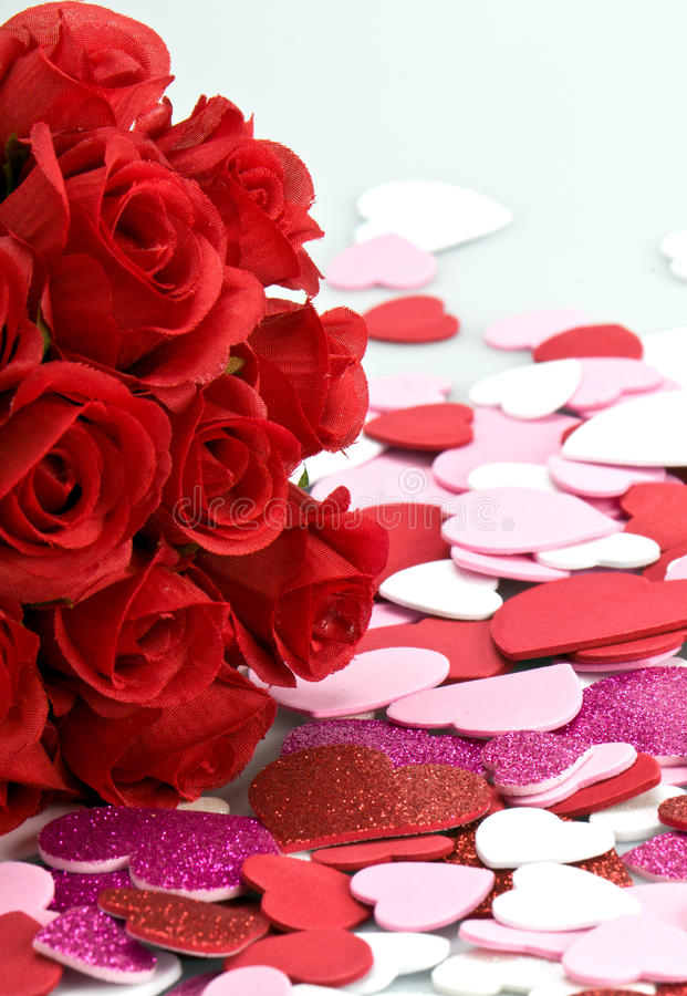 Bouquet of roses and vanlentine royalty free stock photo