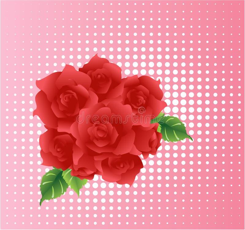 Bouquet rouge de roses illustration de vecteur