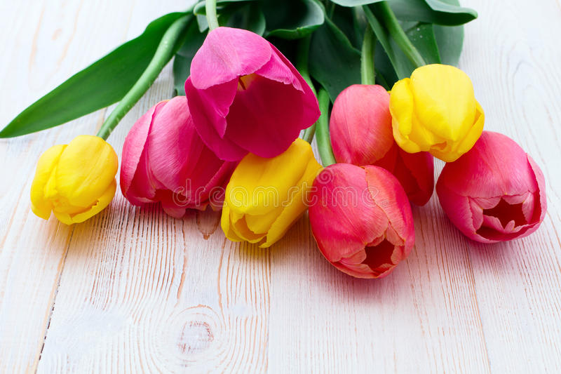 Bouquet of spring flower tulips stock photo