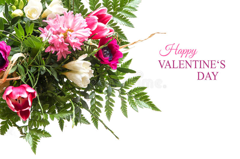 Bouquet of spring flowers isolated on white with text, happy val stock photos