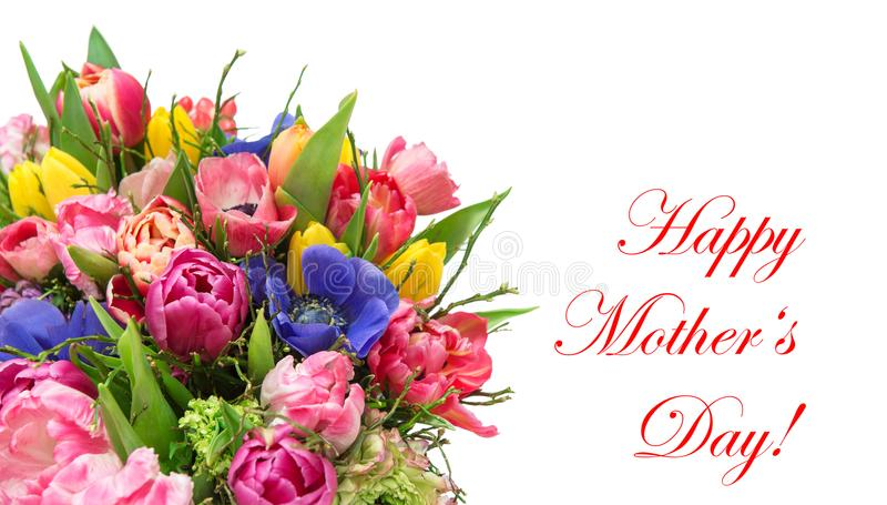 Bouquet spring tulip flowers Mothers Day. Beautiful bouquet spring tulip flowers. Happy Mothers Day royalty free stock image