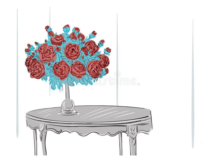 Bouquet standing in vase. Illustration stock illustration