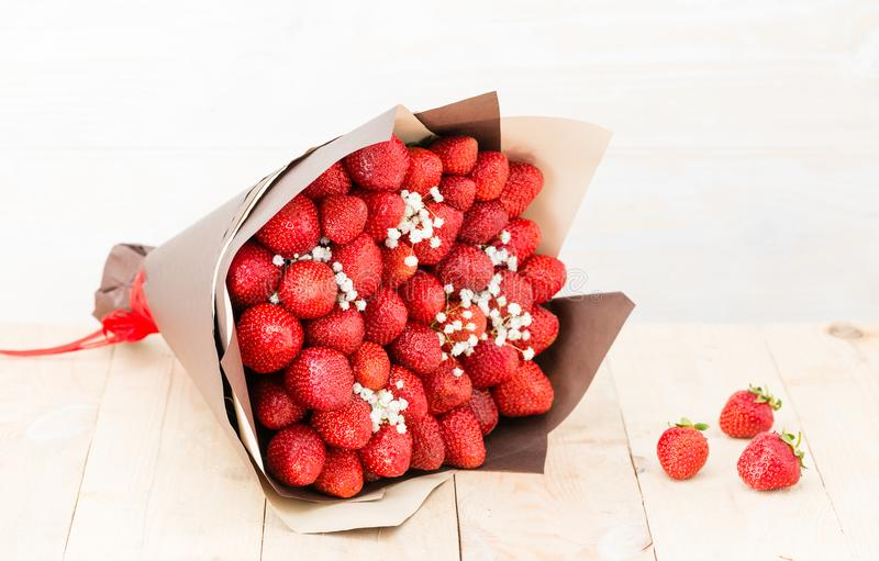 bouquet of strawberries royalty free stock photos