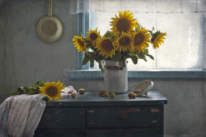 Bouquet of sunflowers and apricots royalty free stock photos