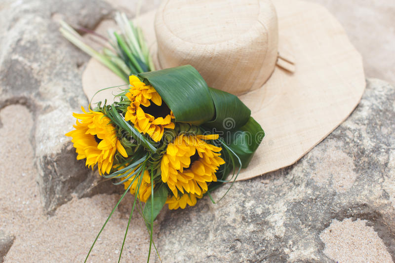 Bouquet of sunflowers and straw royalty free stock photos