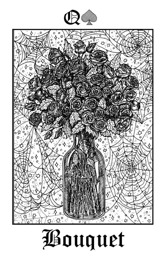 Free Bouquet. Tarot Card From Vector Lenormand Gothic Mysteries Oracle Deck Stock Images - 154774354