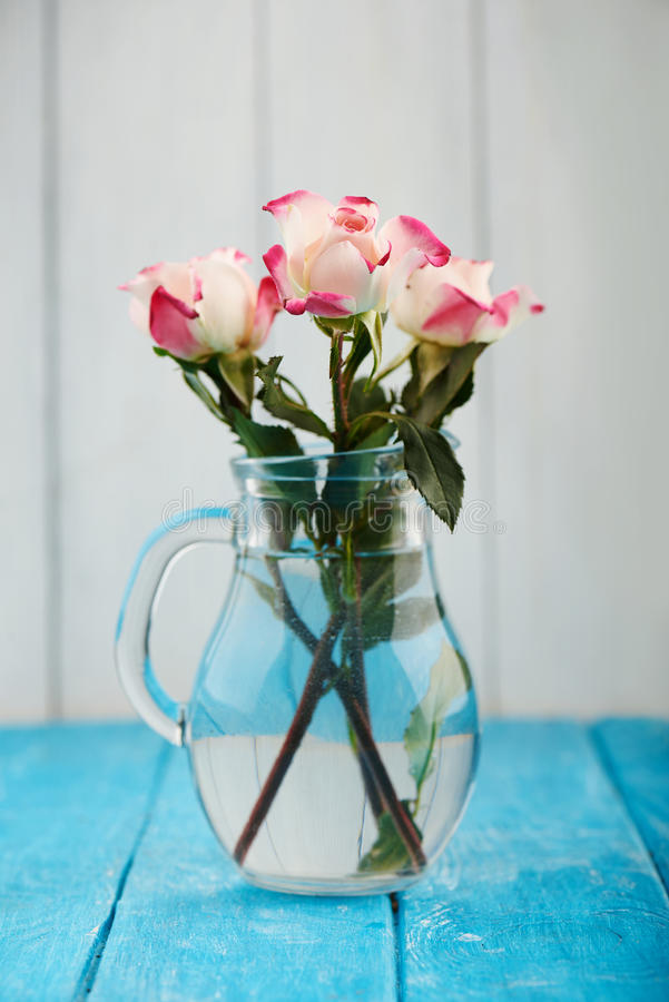 Bouquet of three white and pink roses royalty free stock images
