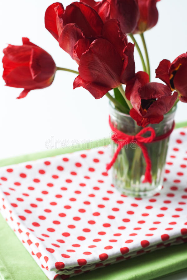 Download Bouquet Of Tulips And A Polka Dot Tablecloth Stock Photo - Image: 19378640