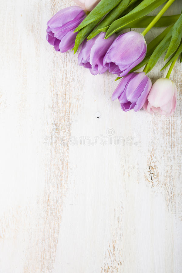 Bouquet of tulips on a wooden background. royalty free stock photos