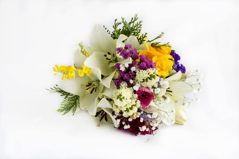 Bouquet of varied flowers. In different colors royalty free stock photography
