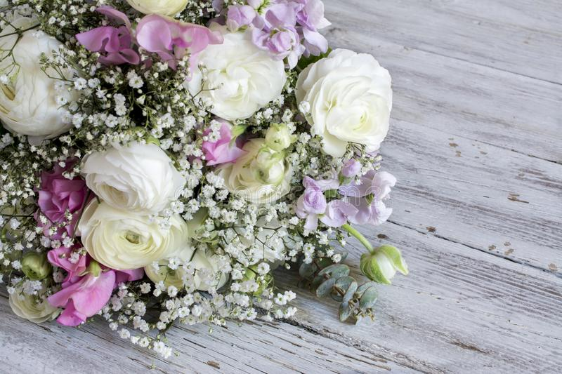 Bouquet of varied flowers. In different colors stock photography
