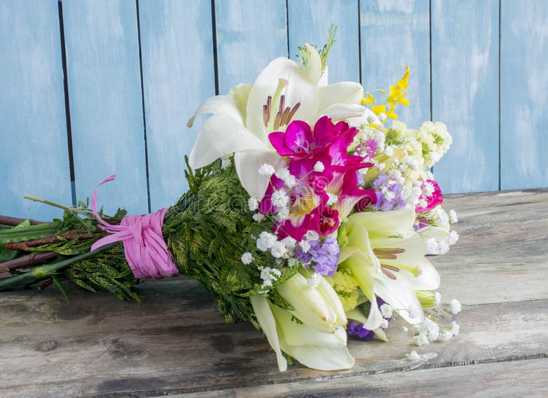 Bouquet of varied flowers. In different colors royalty free stock photos