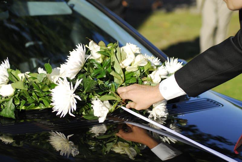 Bouquet on wedding car stock photos