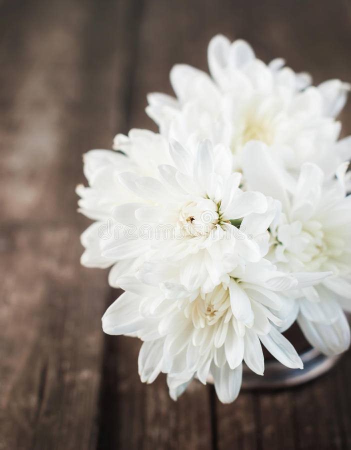 Download Bouquet Of White Chrysanthemums On Wooden Background Stock Image - Image of blossom, background: 32596991