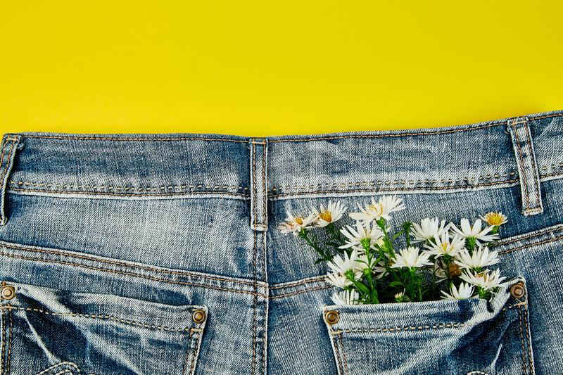 Bouquet of white flower in the pocket of a jeans on yellow background. Minimalis. Denim concept. Flat lay. Copy space. Creative. Layout for spring festive theme royalty free stock images