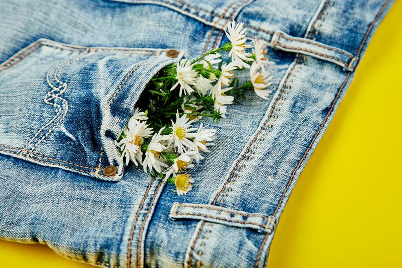 Bouquet of white flower in the pocket of a jeans on yellow background. Minimalis. Denim concept. Flat lay. Copy space. Creative. Layout for spring festive theme royalty free stock image