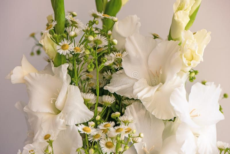 Bouquet of white gladioli. Whiteness delicate gladiolus flowers. Close up on white background royalty free stock photography